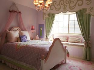 少女也有梦,童话里公主和王子在一起才会有幸福的生活吧~欧式田园风格的公主房,承载的既是一种向往,也是一种期待。,卧室,窗帘,欧式,田园,绿色,粉色,飘窗,