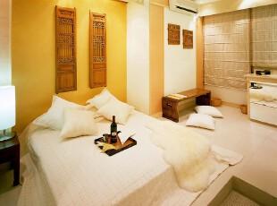 日式风格,卧室,日式,现代,黄色,白色,