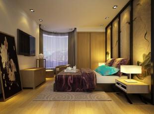日式风格,卧室,日式,现代,黄色,紫色,原木色,