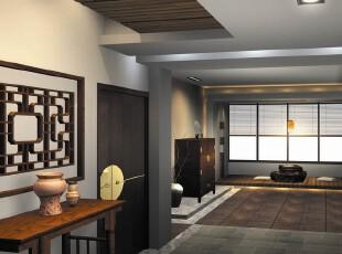日式风格,过道,墙面,地台,日式,现代,黑白,