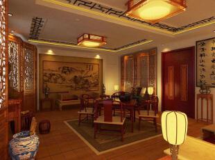 中式风格,餐厅,灯具,墙面,中式,红色,黄色,