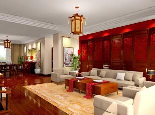 中式风格,客厅,中式,白色,红色,