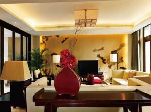 中式风格,客厅,墙面,中式,黄色,红色,黑白,