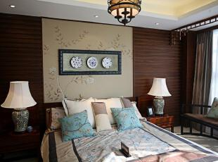 中式风格,卧室,墙面,灯具,中式,原木色,蓝色,