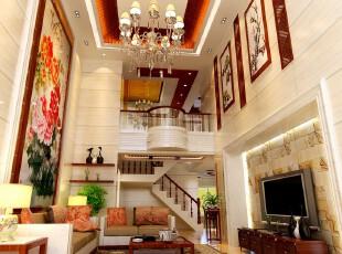 中式风格,客厅,墙面,灯具,中式,红色,原木色,