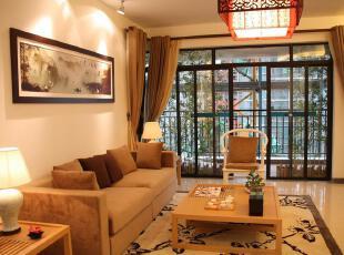 中式风格,客厅,中式,地台,墙面,灯具,黄色,