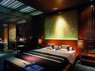 中式风格,卧室,中式,紫色,原木色,绿色,