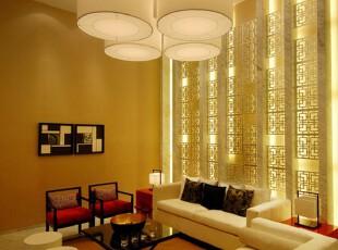 中式风格,客厅,灯具,中式,黄色,