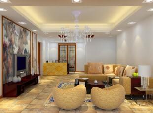 中式风格,客厅,墙面,现代,中式,黄色,