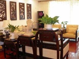 中式风格,客厅,墙面,中式,原木色,