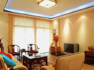 中式风格,客厅,中式,黄色,