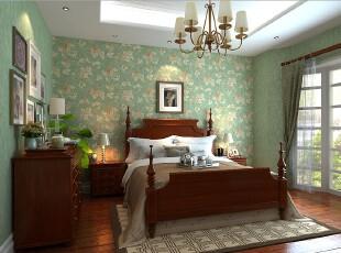 欧式装修,墙纸,卧室,灯具,墙面,地台,欧式,绿色,原木色,