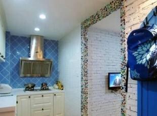从这个角度可以看到客厅的电视墙,墙面很不吧,呆会有细看的图哦,地中海,厨房,单身公寓,小户型,