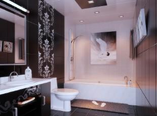 ,卫生间,现代,黑白,白色,墙面,