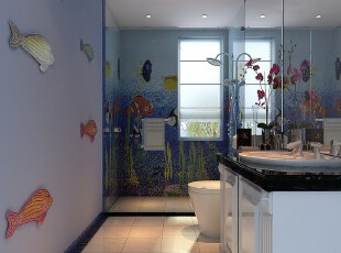 ,卫生间,蓝色,现代,简约,