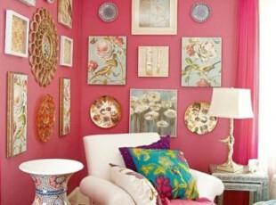 中式大胆粉色客厅