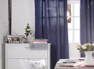 简约蓝色窗帘