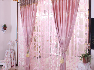 简约现代风格 粉色窗帘