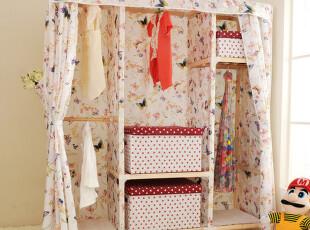 大号四挂方木拉链帘牛津布衣柜实木简易衣柜可折叠布衣橱