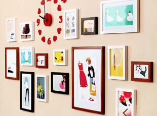 实木照片墙相框创意组合钟爱一生宜家相片墙