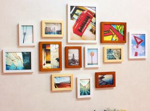 实木照片墙 13框创意相框 组合相片墙 横竖款通用