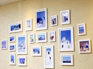 超大地中海20框实木照片墙挂墙相框墙