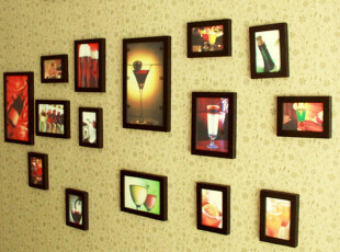 创意组合实木照片墙15框组合