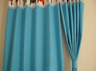 宜家风格蓝色小马窗帘