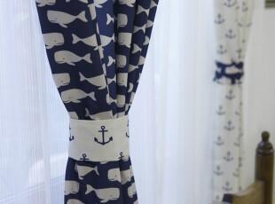蓝色地中海客厅卧室布艺窗帘