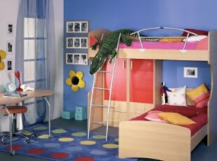 简约儿童房,上下子母床