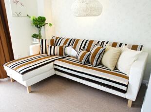格子间隔色沙发,可坐可躺,美观实用.,布艺,沙发,白色图片