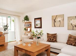 初进家门,就被这一阵清新之气迷倒。,75平,12万,公寓,简约,原木色,白色,客厅,