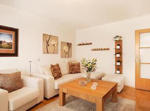 原木色与白色的完美搭配,就形成了MUJI式的清新之气。,75平,12万,公寓,简约,原木色,白色,客厅,