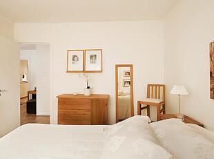 大大的穿衣镜和收纳柜都是原木色清新。,75平,12万,公寓,简约,原木色,白色,卧室,