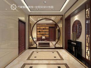 ,过道,玄关,墙面,镂空屏风,中式,新中式,朱红色,地面,