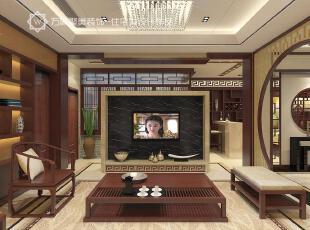 ,客厅,电视墙,镂空屏风,朱红色,中式,新中式,