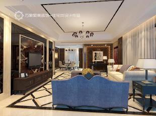 ,客厅,地面,电视墙,现代,奢华,蓝色,深咖色,黑白,