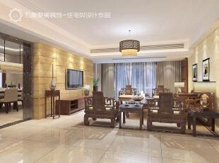 ,客厅,中式,灯具,墙面,过道,黑檀木,黄色,现代,古典,