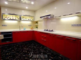 ,240平,25万,现代,大户型,厨房,红色,白色,