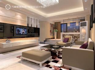 ,客厅,地面,电视墙,现代,米黄色,黑色,