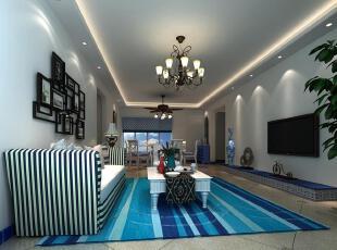 设计师把色彩演绎得更加纯粹。不同的蓝以简约的造型凸显环境的干练和素雅。空间就是在这样的色彩和元素搭配中变得前卫而独特,拥有着一种不同寻常的魅力。,96平,10.4万,三居,地中海,蓝色,客厅,