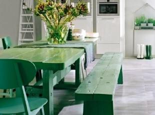 简约餐厅的绿色清新装