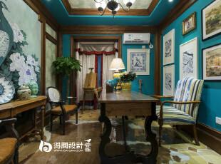 复古孔雀蓝色的书房!