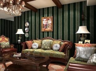 绿色条纹壁纸打造的英伦风客厅