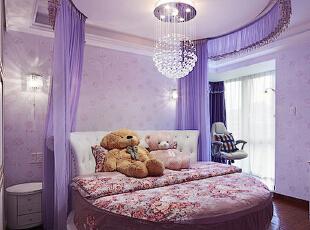 紫色浪漫小资婚房圆床