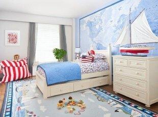 蓝色调皮儿童房