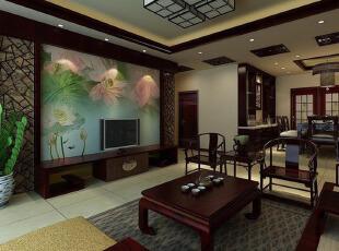 荷塘月色下的中式客厅