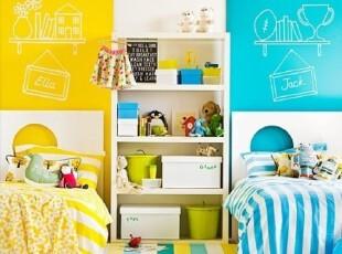 蓝黄撞色双胞胎卧室