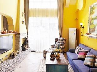 黄紫色地中海田园客厅