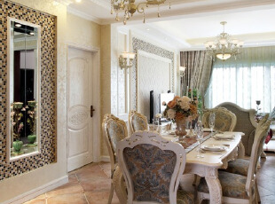欧式田园风格的餐厅,充满了皇家贵族的感觉。